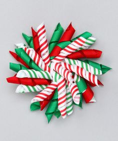 Love this Red & Green Candy Stripe Korker Clip by Festive Fifi on #zulily! #zulilyfinds