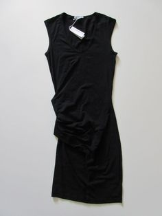 NWT James Perse Sleeveless Black Stretch Jersey Skinny Tucked Dress 1 S $225 #JamesPerse #StretchBodycon #Casual