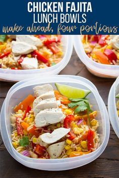 Make these chicken fajita lunch bowls for healthy lunches through the week! This recipe combines bell peppers, baked chicken breast and rice with a delicious fajita-vinaigrette. #mealprep #mealpreplunch #lunchmealplan #lunchbowl #fajitabowl #healthyfajitas #sweetpeasandsaffron Easy Meal Prep Lunches, Make Ahead Lunches, Prepped Lunches, Meal Prep Bowls, Healthy Meal Prep, Healthy Snacks, Healthy Recipes, Work Lunches, Healthy Detox