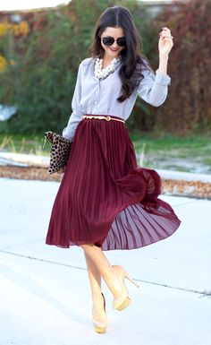 Button Up Shirt, Pleated Oxblood Skirt, Animal Print Envelope Clutch, Pearl Cluster Statement Necklace