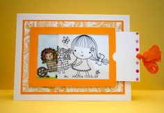 tutorial - colored image on inside of card; outline stamp on acetate; slide to reveal colored image