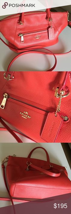 💥 Coach Pebbled Leather bag  Satchel Crossbody Authentic 🔶COACH🔶bag/purse worn as a satchel with detachable Cross Body or shoulder strap. In rich orange pebbled leather that doesn't get scratched. Outside pocket for phone, zip closure in gold hardware + inside pocket. A great small - medium tote bag. Excellent condition w/few signs of use. Comes w/silk dust cover from a very clean smoke free home. Great pop of color for fall, winter, spring and summer. Not too summery. Guaranteed…