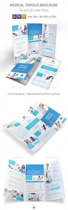Medical Trifold Brochure Template PSD, Vector EPS, InDesign INDD, AI Illustrator