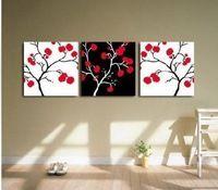 3130 pintado à mão 3 peça moderna vermelho pintura a óleo sobre tela wall art flor imagem para sala de estar