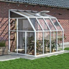 The Rion - Sun Room 2 - x Lean-to Greenhouse has a heavy-duty resin frame. Rion x Lean-to Greenhouse by AllSun Solar Products. Polycarbonate Greenhouse, Polycarbonate Panels, Walk In Greenhouse, Greenhouse Plans, Cheap Greenhouse, Indoor Greenhouse, Homemade Greenhouse, Cheap Pergola, Acrylic Wall Panels