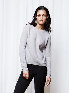 Soft Goat Women's Ribbed Sweater Ljusgrå