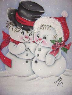 Paintings taken by the net artisan Lilinha Silva . Christmas Rock, Christmas Canvas, Christmas Scenes, Christmas Pictures, Christmas Snowman, Christmas Ornaments, Cute Snowman, Snowman Crafts, Snowmen