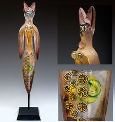 Cat Bird glass sculpture by Susan Gott. See more by Gott on my Art Glass board.