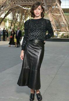 Black leather maxi skirt