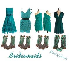 Teal bridesmaids with cowboy boots