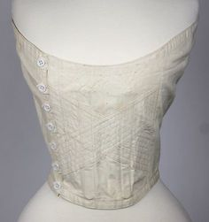 a71c46c3b5 Lovely White Cotton Underbust Corset Fully Boned with Center Side Buttons