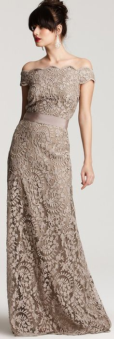 Light Chocolate Off shoulder Sheath Lace Bridesmaid Dress for Party 2013 New Arrival - Bridesmaid Dresses - Wedding Dresses Tadashi Shoji, Beautiful Gowns, Beautiful Outfits, Gorgeous Dress, Glamour, Lace Bridesmaid Dresses, Wedding Dresses, Lace Dresses, Dresses 2013