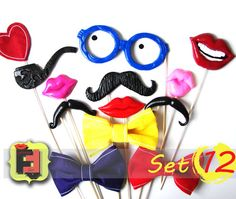 Set from 12 Photo booth Props - 3 plastic lips, 3 plastic mustaches, 3 felt bows, 1 glasses, 1 pipe, 1 smile
