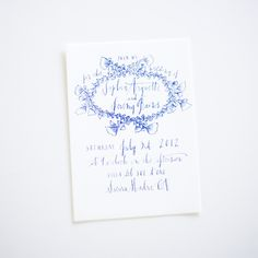 White Blue Wedding Invitations Calligraphy Formal Elegant Wax Seal