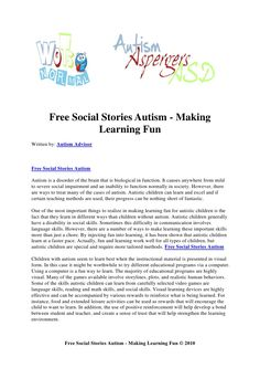 Free social stories autism   making learning fun
