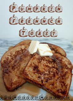 Pumpkin Pie French Toast ◾12 slices whole wheat sandwich bread ◾3 eggs ◾1/2 cup milk ◾3/4 cup pumpkin purée ◾1 tsp pumpkin pie spice ◾Butter and syrup for serving