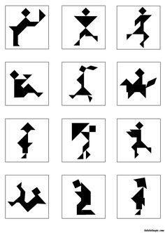 Page de modèles de personnages à réaliser avec un jeu Tangram Tangram Printable, Activities For 5 Year Olds, Tangram Puzzles, Shape Games, Math Projects, Kids Class, Shadow Art, Maila, Puzzle Art