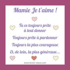 Carte mamie et message bonne fête des grand-mère Granny Gifts, Were All Mad Here, Grandma And Grandpa, French Lessons, Brush Pen, Mothers Love, Pinterest Blog, Diy And Crafts, Messages
