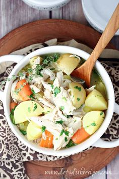 Chicken and Potato Stew Recipe -- This hearty stew, loaded with tender chicken, potatoes, carrots and fresh thyme, is the perfect comfort food for a chilly evening. #soup #stew #chickensoup #recipes