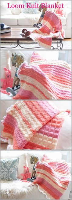 Loom Knit Baby Blanket Pattern Just Published! Loom Knit Baby Blanket Pattern Just Published! Beautiful texture unisex blanket for the little one. The post Loom Knit Baby Blanket Pattern Just Published! appeared first on Knitting ideas. Loom Knitting Blanket, Afghan Loom, Loom Blanket, Loom Knitting Stitches, Loom Knit Hat, Easy Baby Blanket, Loom Knitting Projects, Baby Knitting, Cross Stitches
