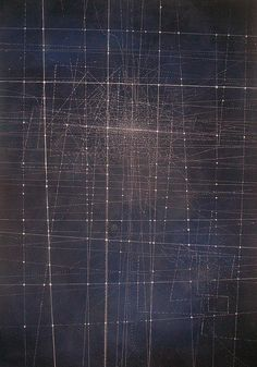 C40 by Emma McNally1 on Flickr. white pastel on dark ultramarine ground, 85cmx120cm, via Flickr