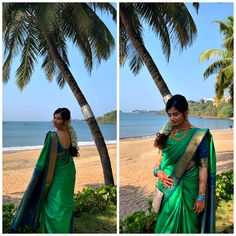 Styling the silk saree with traditional temple jewellery and a beautiful floral hairstyle. #saree #sari #silksaree #silksaree #silksareeblouse #greensaree #blueblouse #floralhair #templejewellery