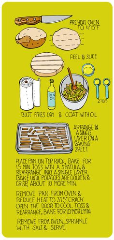 Oven Baked Fries - Illustrated. Potato, salt, oil. These have turned out great every time. Definitely saving this one.
