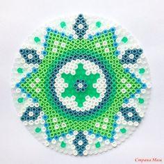 Green mandala hama perler beads by coriander_dk: Perler Bead Designs, Hama Beads Design, Diy Perler Beads, Pearler Beads, Fuse Beads, Fuse Bead Patterns, Perler Patterns, Beading Patterns, Cross Stitch Patterns