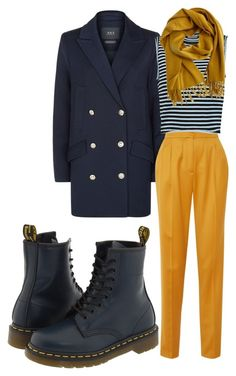 Sailor Style by sanja-tomi on Polyvore featuring A.L.C., SET, Merchant Archive, Dr. Martens, Hermès, yellow, Sailor, navy and rainyday