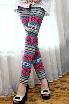 Tribal Print Ankle Thicker Leggings OASAP.com