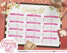 Printable Black & White Striped Floral Grocery List | Happy Planner | Erin Condren | US Letter Binder | Instant Download