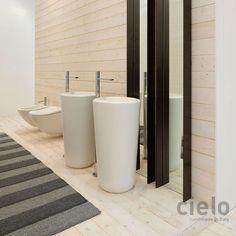Lavabo freestanding scarico a terra Bianco Fluid - Lavabo Bianco da bagno Ceramica Cielo