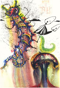 'Advice From a Caterpillar' - Alice's Adventures in Wonderland, illustrated by Salvador Dali, 1969, williambennettgallery #Illustration #Alice_in_Wonderland #Salvador_Dali #williambennettgallery