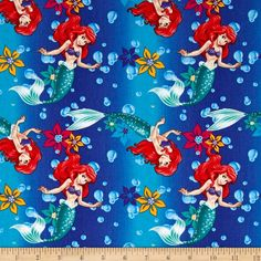 Disney Little Mermaid Ariel Ombre Toss Blue from @fabricdotcom  Licensed by Disney to Springs Creative, this cotton print is perfect for quilting, apparel and home decor accents. Colors include shades of red, blue, yellow, purple, green and pink.