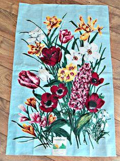 Tea Towel Mid Century Tea Towels Vintage Tea Towel  Flowers Linen Poland. $12.00, via Etsy.