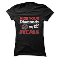 Awesome Baseball Lovers Tee Shirts Gift for you or your family member and your friend:  Hide Your Diamonds.  Tee Shirts T-Shirts
