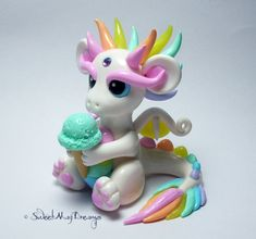 White Pastel Dragon with Mint Ice Cream by SweetMayDreams.deviantart.com on @DeviantArt
