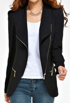 zipper embellished blazer