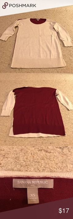 Banana Republic sweater This is a 3/4 length color block sweater from Banana Republic. The front is khaki and the back is burgundy. Only worn a couple of times. Light weight material. Banana Republic Sweaters