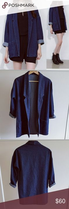 Denim Blazer Oversized Jacket Dark Blue Brand new super chic denim jacket is trendy this year. With drop shoulders, notched lapels. Tap into denim into denim trend by matching this with denim shorts Size measurements: shoulder width: 38cm, Bust 94cm, Sleeve: 65cm. total length: 72.Size is small but should fit all size. Cotton blend. Jackets & Coats Blazers