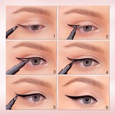 How to, Winged Liner: 1. Always start with the flick at the outer corner of the eye. 2. Place the liner brush at the end of the top lash line and elongate it, pointing a little bit up, at the tale of the brow. 3. Connect the end of that first line with the middle of the lash line. 4. Trace the lash line from the tear duct to the flick. 5. Fill in the flick. 6. Bold the line as it goes to the outer corner of the eye.