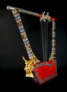 Lyres from The Royal Tombs of Ur Golden Lyre.This is  a modern replic of the  lyre  shown above. Sumerian