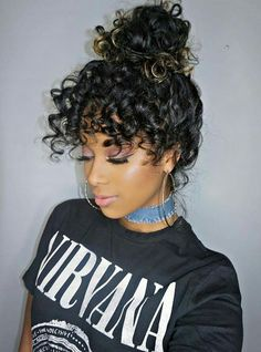 Hairstyles You Must See: Amazing Hair Style Ideas For Spring : Gorgeous black to gold curly ombre hair is thrown up in a bun, letting us admire the eye-grazing curly bangs. Curly Hair With Bangs, Hairstyles With Bangs, Easy Hairstyles, Curly Hair Styles, Natural Hair Styles, Formal Hairstyles, Black Hairstyles, Hairstyle Ideas, Pretty Hairstyles