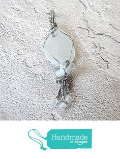 Real Beach Found Sea Glass & Stainless Steel Wire Wrapped Pendant Necklace - Frosted White Beaded Bubbles - Handmade, Unique, OOAK Gift for Mother, Mom, Wife, Girlfriend, Sister - With Dangles from Rhonda Chase Design https://www.amazon.com/dp/B01N2WNESL/ref=hnd_sw_r_pi_dp_y13JybMNQ96A7 #handmadeatamazon