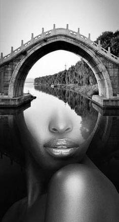 Magic bridge - My list of the most beautiful artworks Photoshop Photos, Photoshop Design, Surrealism Photography, Portrait Photography, Noisy Le Sec, Photo Manipulation Tutorial, Exposition Photo, Double Exposure Photography, Photo Effects