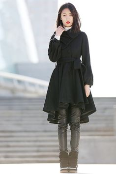 Black coat asymmetrical Collar Wool jacket -CF075 on Etsy, $179.99
