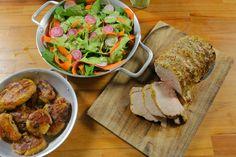 egészben sült karaj zöld salátával, krumplival #porkchops