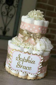 2 Tier Blush Pink and Gold Diaper Cake Baby Girl Elegant