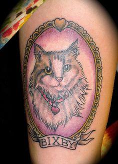 cat tattoo frame portrait