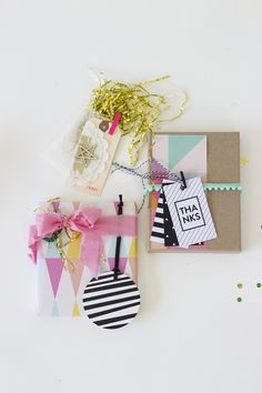 Simple pastel and geometric gift wrap